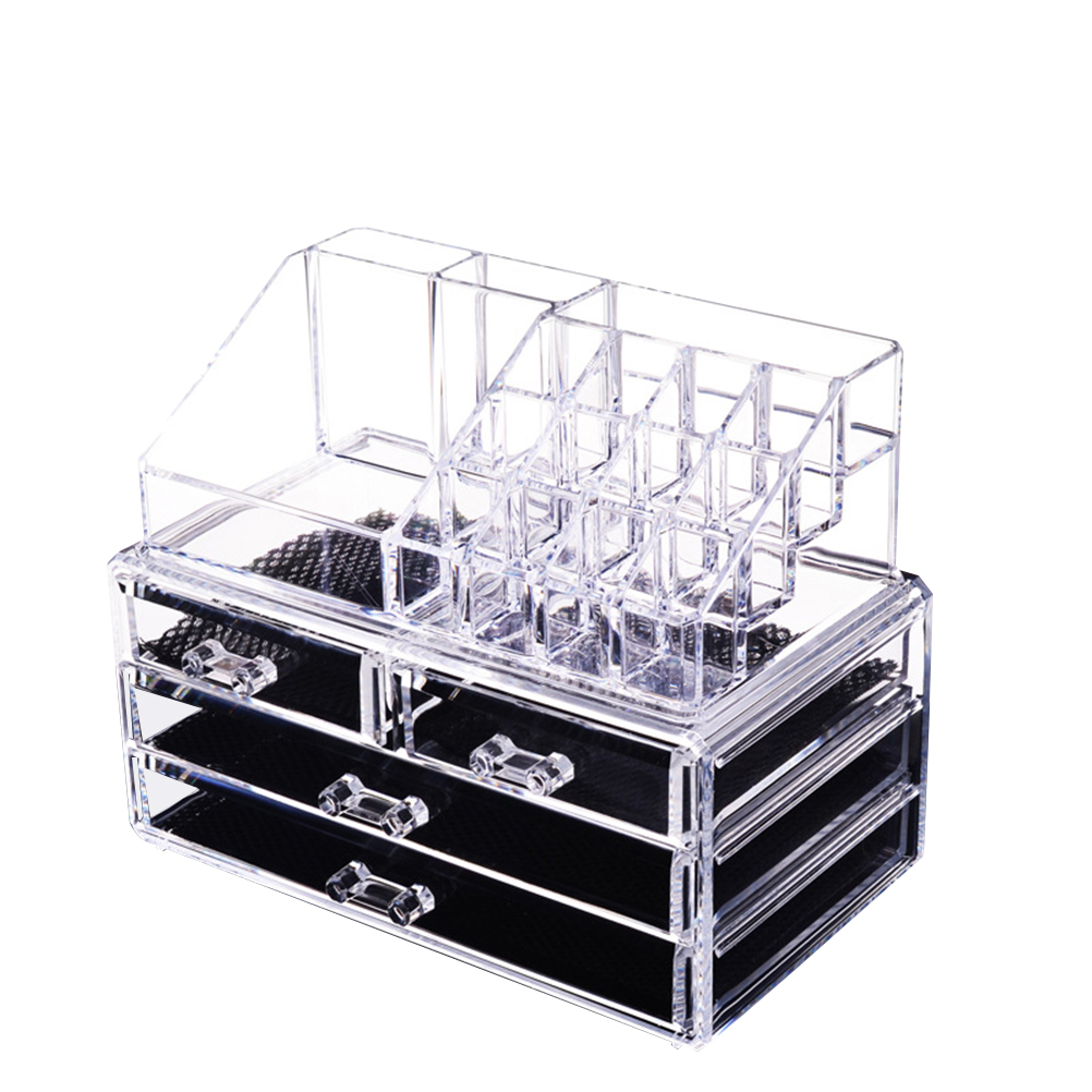 4 Tier Drawers and 12 Grid Stackable Cosmetics Makeup Organizer and Jewelry Storage Display Box Countertop