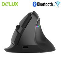 Delux M618 Mini Wireless Bluetooth Gaming Mouse Vertical Ergonomic Rechargeable Computer Gamer Mause RGB Backlit Mice For Laptop