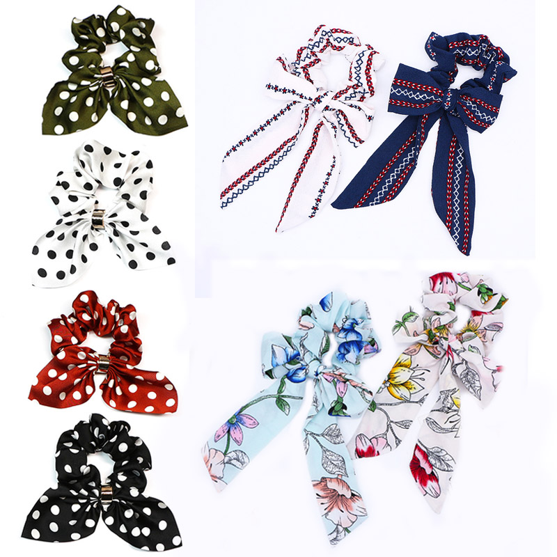 Sale Hair Ring Scrunchies Horsetail Tie Streamer Dots Print Flower Long Tassel Ribbon Girl Hair Bands Headwear Accessories