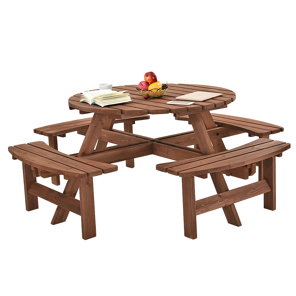 Panana Wooden Round 6 / 8 Seaters Picnic Table Wood Bench Seats Garden Table Bench set Fast ship to UKPanana Wooden Round 6 / 8 Seaters Picnic Table Wood Bench Seats Garden Table Bench set Fast ship to UK
