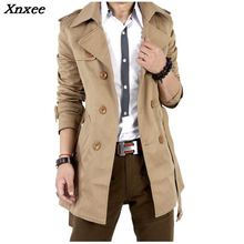 2018 Trench Coat Men Classic Double Breasted Mens Long Masculino Clothing Jackets & Coats British Style Overcoat