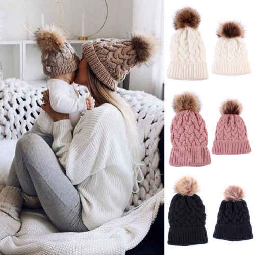 0ced070653a73b ... 1Pc Fashion Candy Colors Mom or Baby Knitting Keep Warm Hat Women  Winter Hat Family Matching ...