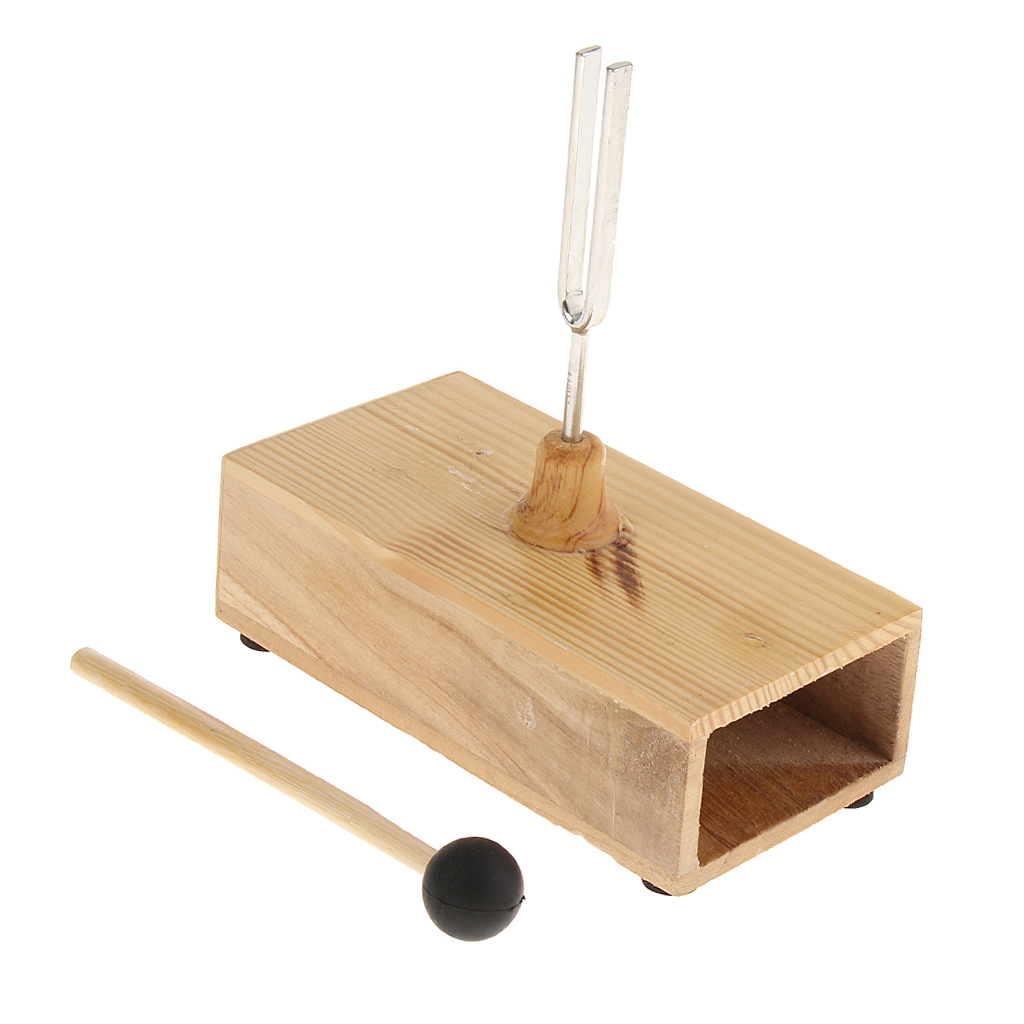 <font><b>440HZ</b></font> <font><b>Tuning</b></font> <font><b>Fork</b></font> + Hammer Ball + Wooden Resonant Box Diagnostic For Acoustic Instrument Set image