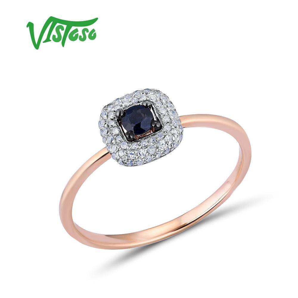VISTOSO Pure 14K 585 Rose Gold Ring Voor Vrouwen Ring shining Diamond Blue Sapphire Luxe Bruiloft Engagement Elegante Fijne sieraden-in Ringen van Sieraden & accessoires op  Groep 1