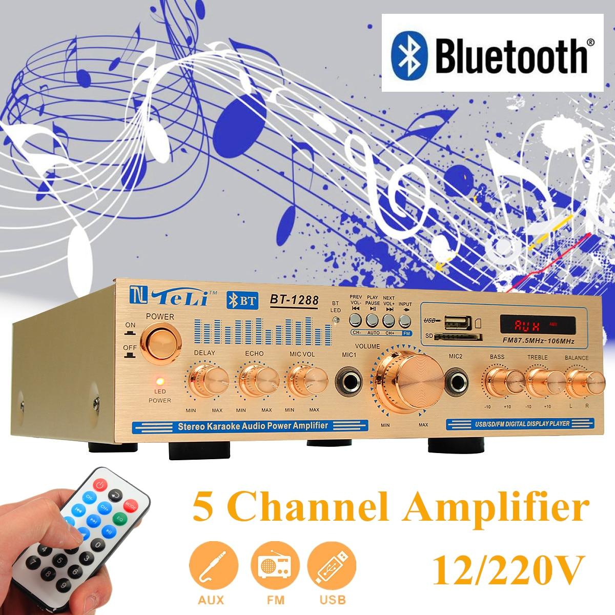 2*100w 12V/220V Equalizer Bluetooth Home Stereo Power Amplifier USB Car Amplifier Home Theater Amplifiers Audio 3800w 4 channel equalizer home stereo power amplifier usb car amplifier home theater amplifiers audio