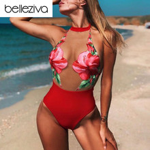 Belleziva Sexy Gauze Perspective Patchwork One Piece Swimwear Floral Print Swimsuit Bathing Suit Female Brazilian Monokinis