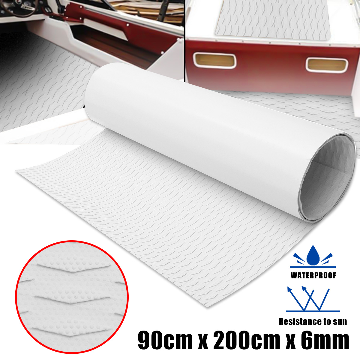 EVA Foam Teak Deck Sheet Self Adhesive Boat Yacht Synthetic Decking Foam Sheet 90X200cm 6mm Marine Flooring Mat