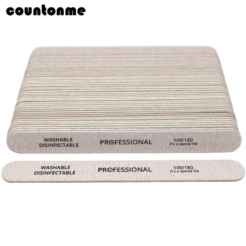 100Pcs Nail File 100/180 Wooden Sanding Buffer Block Pedicure Manicure UV Gel Nail Polish Pro Nail Files Artificial Nail Tips