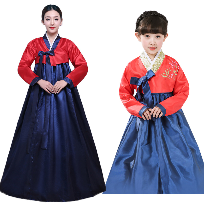Adult Kids Mother Daughter Korean Hanbok Traditional Costumes Tops+dress with Bow Tie Woman Girls Luxury Asain Dance Dress