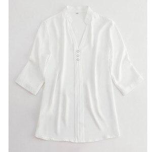 Image 5 - אופנה חולצה נשים חצי שרוול מקרית עבודה אלגנטי V צוואר עסקי ראיון רשמי שיפון החולצה משרד ליידי בתוספת גודל חולצות