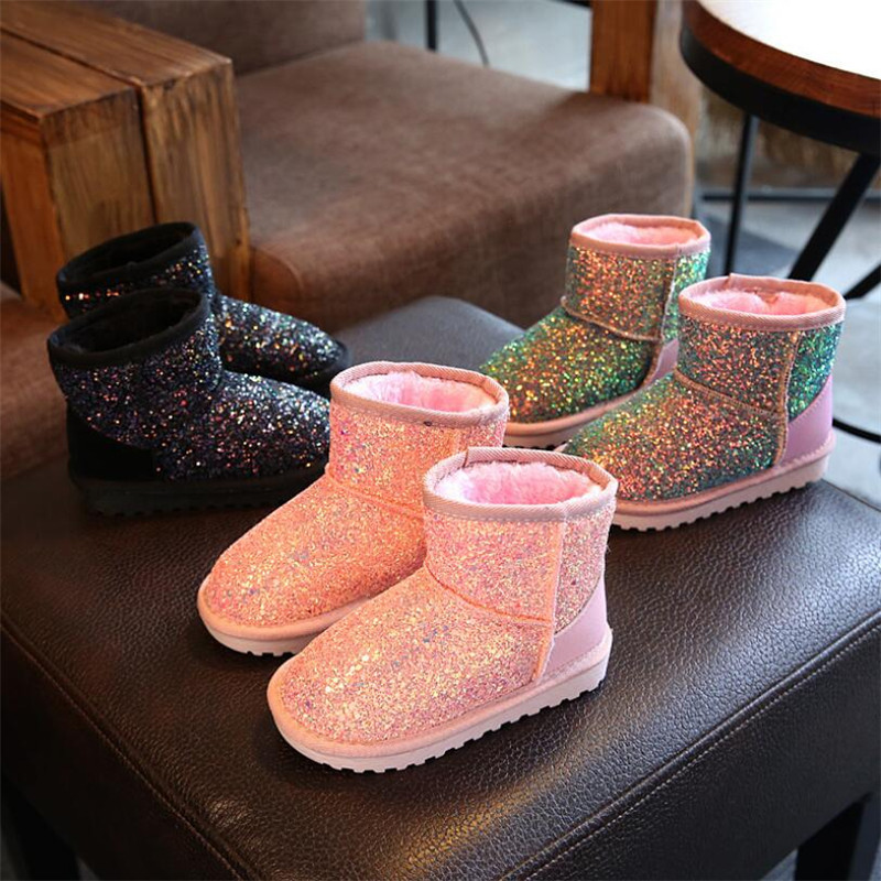 Winter Kids Boots Sequined Bling Leather Boots Plush Baby Girl Snow Boots Warm Shoes Toddler Shoes Outdoor Snow Boots