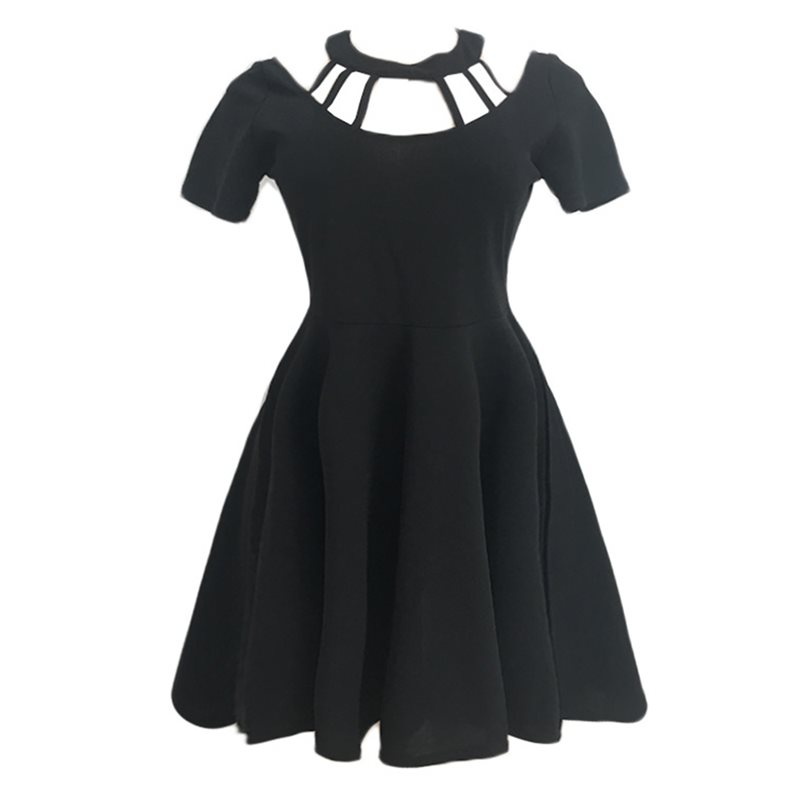 Women Mini Dresses Casual Elegant Black Gothic Summer Sexy Aline Solid Hollow Vintage Female Fashion Red Goth Retro Short Dress