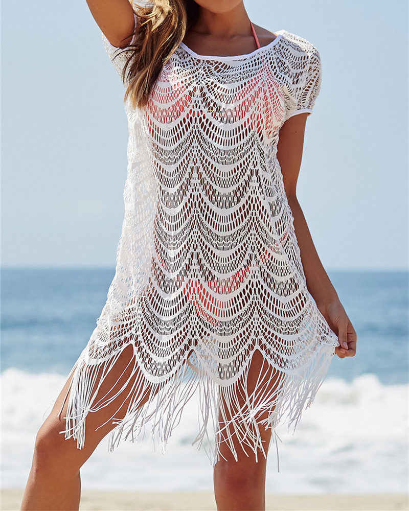 Tassel White Lace Capa Ups Swimwear Borla Summer Sexy Bikini Beach Pareo Tampa Ups Beachwear Women Costume Cover Up