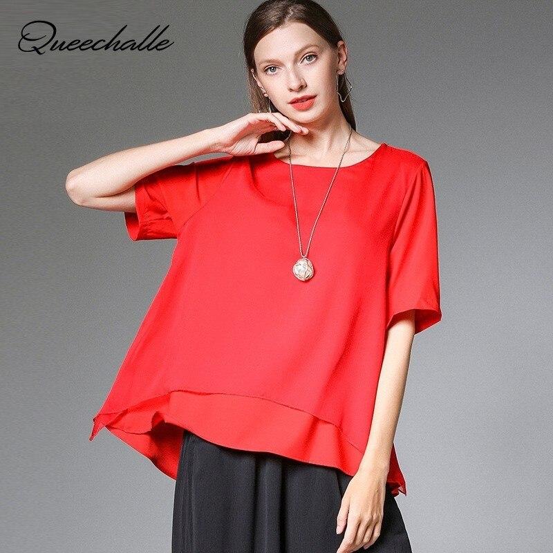 Red White Black Color Big Size Chiffon   Blouse     Shirt   Summer Patchwork Casual Loose   Blouse   Women XL XXL XXXL 4XL Plus Size Tops