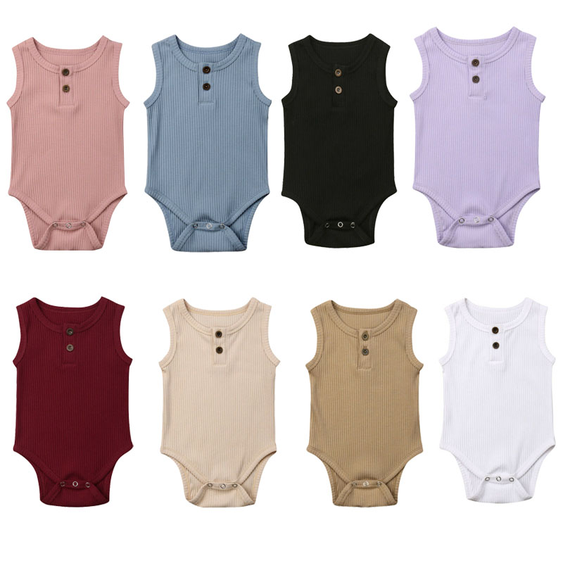 Summer Newborn Baby Boy Girl Sleeveless Solid Color Cotton   Romper   Jumpsuit One Pieces Baby Clothes