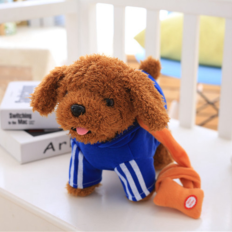 Robot Dog Electronic Dog Plush Music Dog Pet Walk Bark Sing Dance USB Chargeable Leash Teddy Toys For Children Birthday Gifts