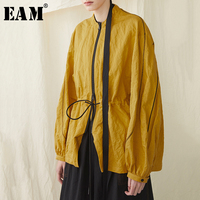 [EAM] 2019 New Spring Summer Stand Collar Long Sleeve Yellow Loose Drawstring Big Size Jacket Women Coat Fashion Tide JR396
