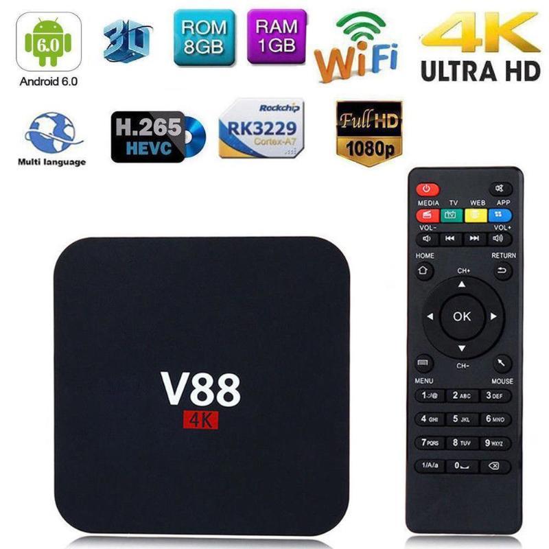 EU Plug V88 4K Android 6.0 Smart TV BOX RK3229 Quad Core 1.5GHZ 1GB+8GB 1080P WIFI Media Player Set-top Box DC 5V 2A TV Receiver