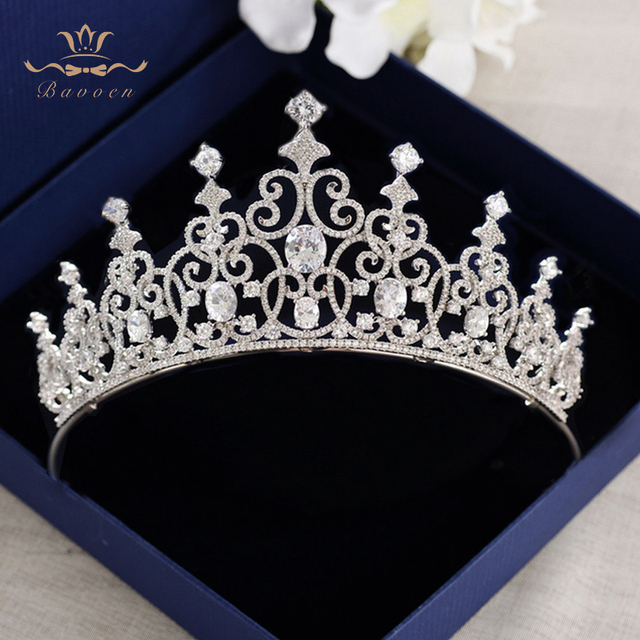 Bavoen High Quality Royal Zircon Brides Tiaras Crowns Crystal Brides Hairbands Queen Headpieces Wedding Hair Accessories Gifts