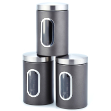 3Pcs 11X16.5Cm Stainless Steel Storage Tank High-Grade Fresh-Keeping Sealed Tea Coffee Canisters Storage Box Organization