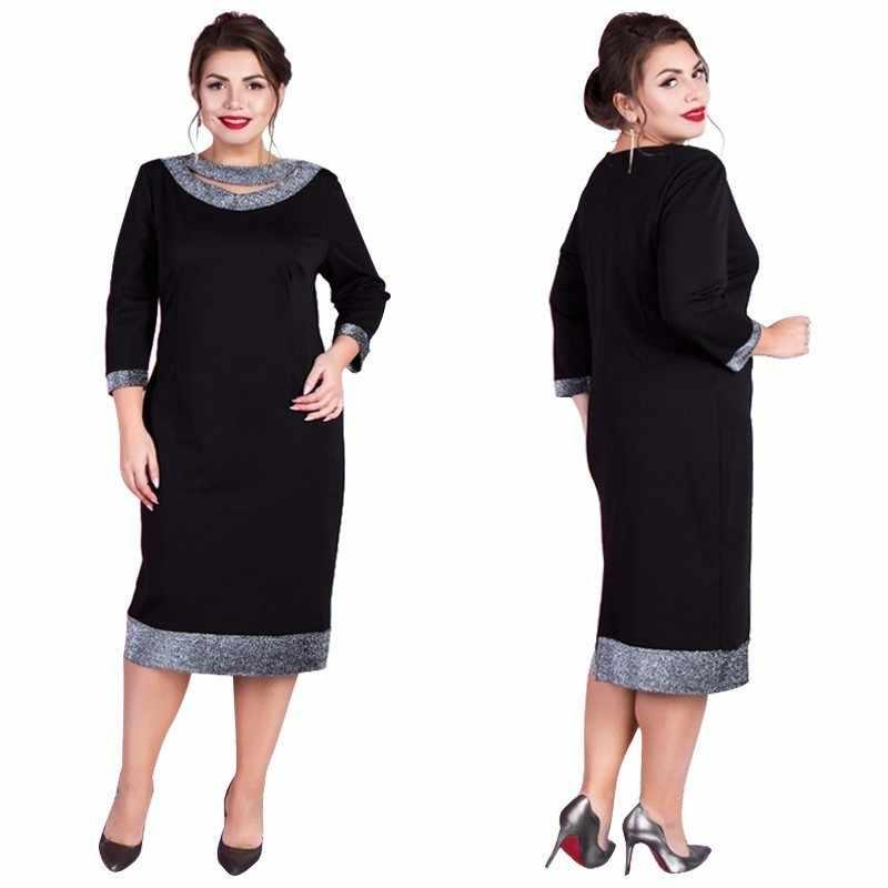 2019 elegancka sukienka na imprezę kobiety letnia sukienka Plus rozmiar sukienka cekinowa bodycon Midi biuro czarna sukienka duża 5XL 6XL szata Femme