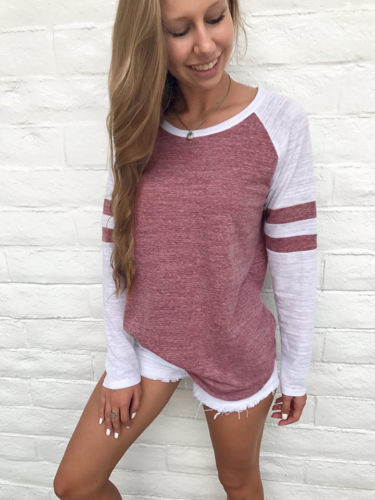 Fashion Casual Women Ladies   Blouses     Shirts   Cotton Long Sleeve Pullover Tops Pink Autumn Clothes