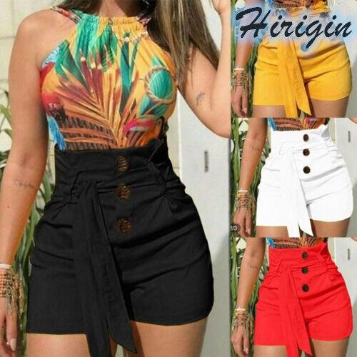 Summer Women Shorts Casual Summer Women Hot Shorts Solid Loose Shorts Elastic High Waist Button Shorts