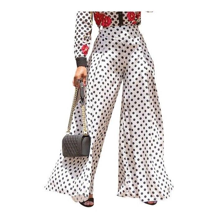 2019 Summer New Women Polka Dot   Pants   Vintage High Waist   Wide     Leg     Pants   Female Casual Loose Long Trousers
