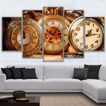 Modular Frame Canvas HD Prints Poster Home Decor Wall Art 5 Pieces Division Of Time Pictures Retro Pocket Watch Painting