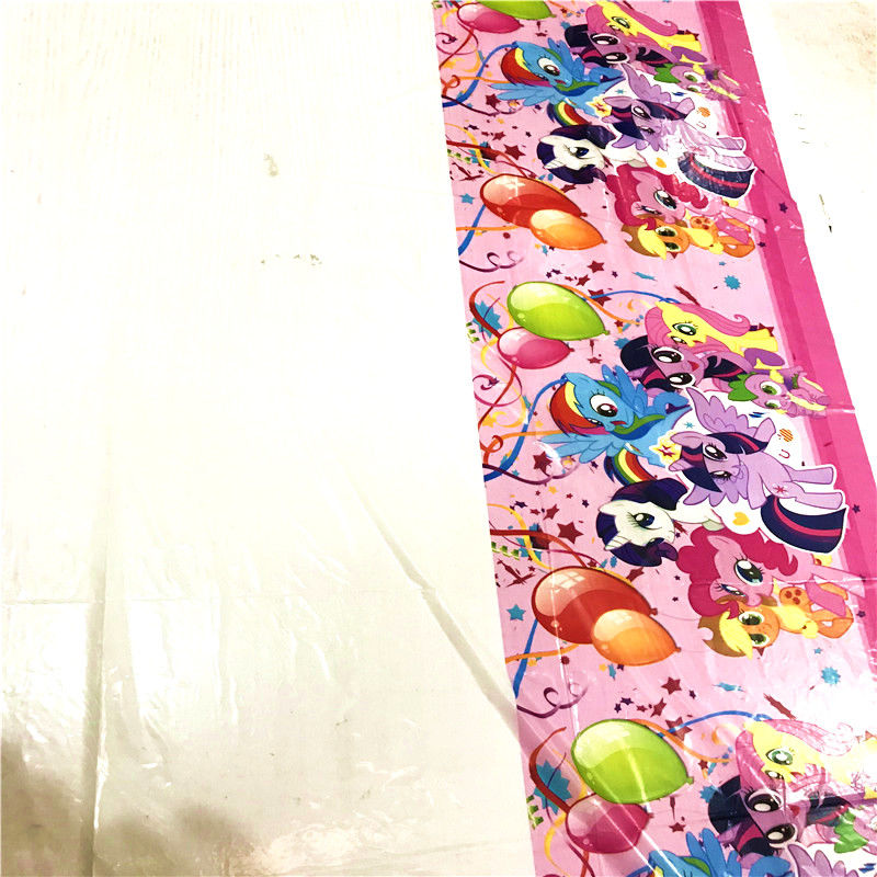 Горячая Распродажа, 1 шт. 108*180 см мой маленький пони, детский день рождения, день рождения мальчика вечерние Мультяшные одноразовые скатерти для детского душа-1