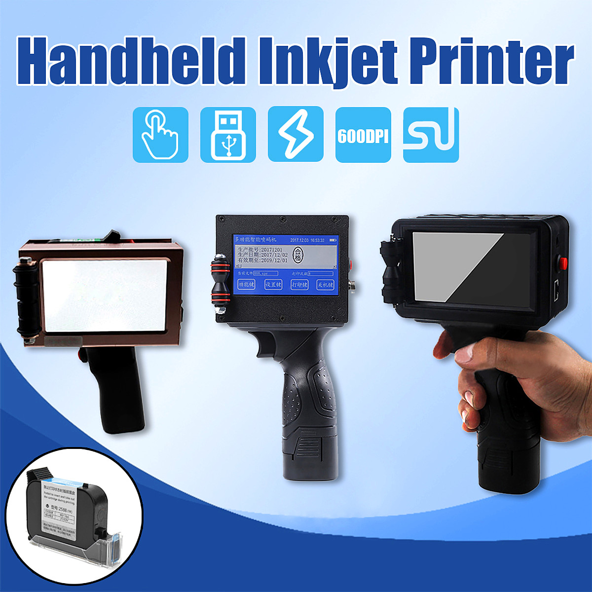 3 Choices 680/690/730 Handheld Smart Date Coder Inkjet Printer Ink Coding Machine LED Screen Printing Date QR code bottle batch code inkjet printer and date printing machine