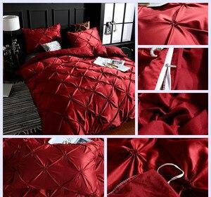 Image 4 - Sherwood 2/3 Pcs Faux Zijde Damast 3D Ruches Borduurwerk Beddengoed Dekbedovertrek Set Met Kussensloop Luxe Koningin king Size