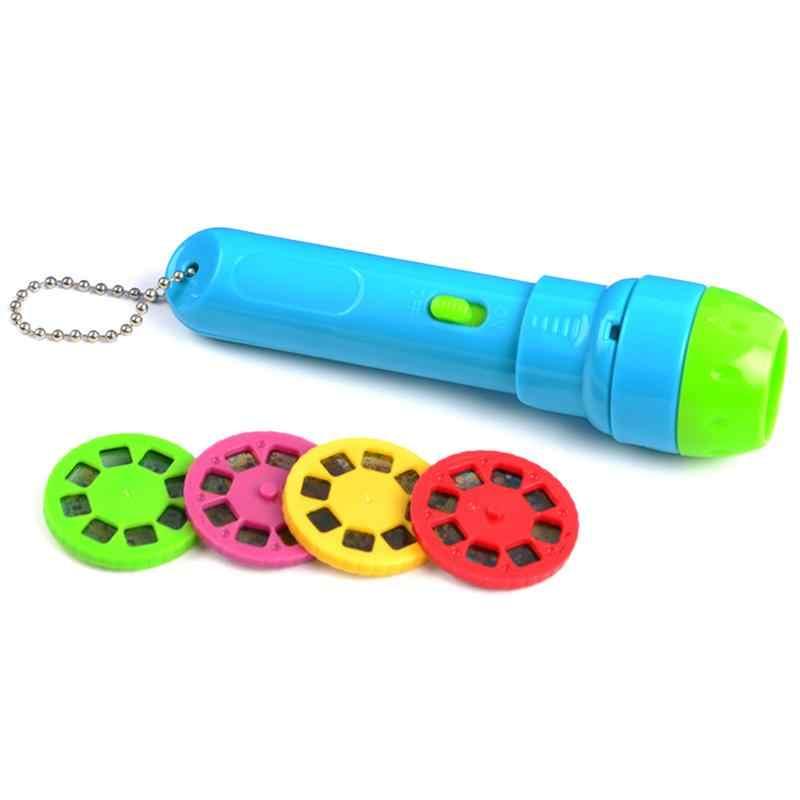 Sonno del bambino storia torcia elettrica lampada di proiezione giocattolo per bambini proyector cuento toy bambini istruzione regolabile lunghezza focale