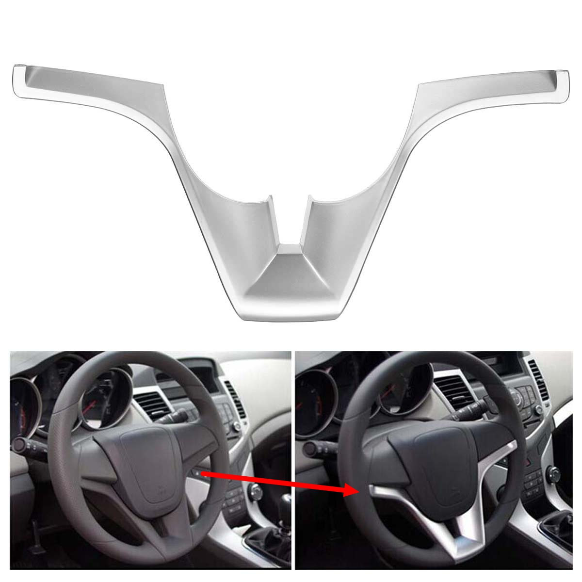 Car Steering Wheel Trim Cover Sticker Chrome Interior Sticker For Chevrolet For Cruze Sedan Hatchback 2011 2012 2013 2014