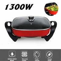 220V 1300W 6L Multi functional Household Electric Non stick Heat Cooker Roast Pots Korean Dormitory Frying Pan Barbecue Grill