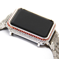 Diamond framed silver plated with diamond case For Apple Watch 3 2 1 42mm 38mm Strap Iwatch cover Protector Watch Accessories