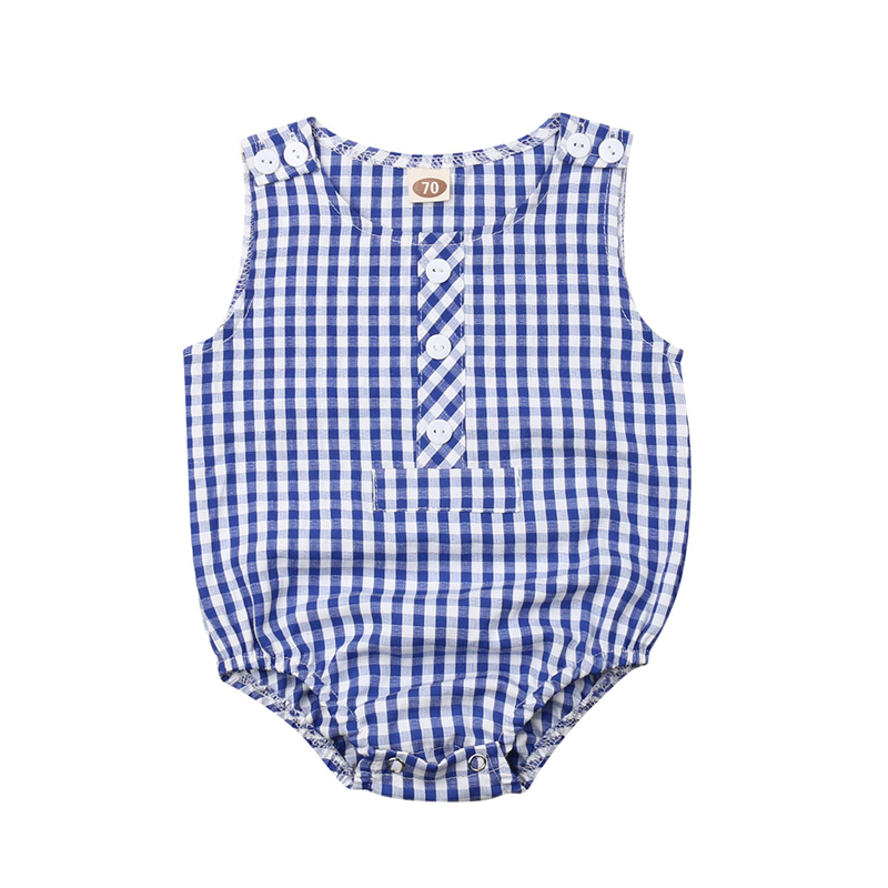 Bodysuits Bodysuits & One-pieces Obliging 2019 Summer Brand New Baby Kids Girls Boys Sleeveless Grid Outfits Toddler Shirt Clothes Set To Reduce Body Weight And Prolong Life