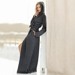 Для женщин и мужчин Микрофибра флис ультра длинный Пол Длина с капюшоном халат халаты пижамы размера плюс ночная рубашка халат для отдыха