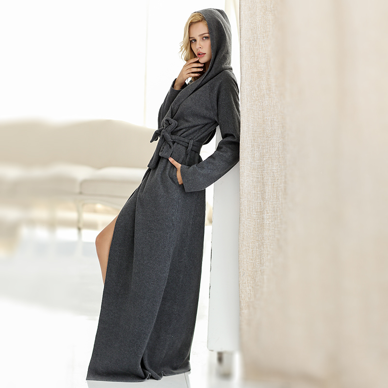 High quality lovers with a hood lengthen ultra long paragraph plus size bathrobe robe lounge monochrome