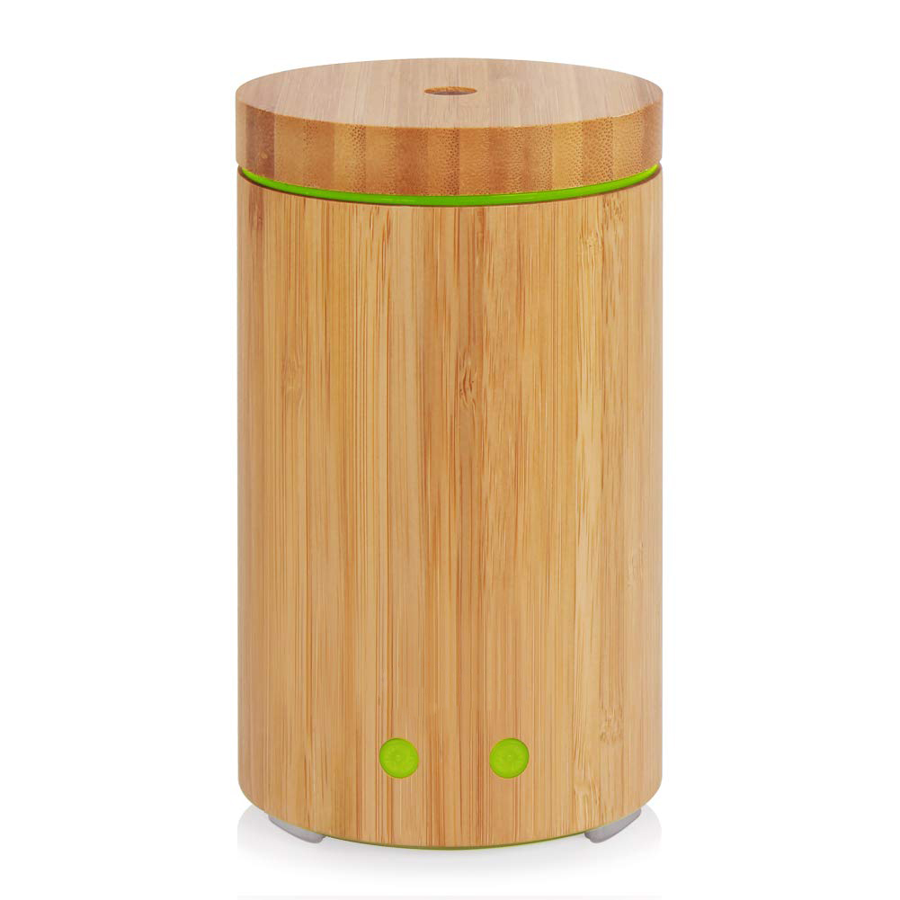 Essential Oil Diffuser, Real Bamboo Diffuser 160ml Ultrasonic Aromatherapy Diffusers With 7 LED Colorful Lights, Waterless Aut