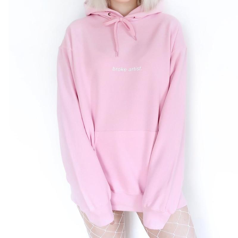 Broke Artist Baby Pink Hoodie Women Causal Sweatshirt Tumblr Inspired Aesthetic Pale Pastel Grunge Aesthetics 90s Art Jumpers