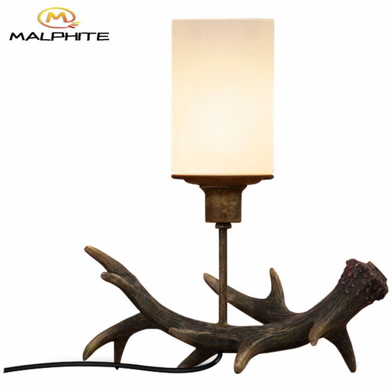 American Retro Antlers Candlestick Table Lamp Carving Glass Candelabro Table Lights Bedroom Restaurant Deco Lighting Fixtures