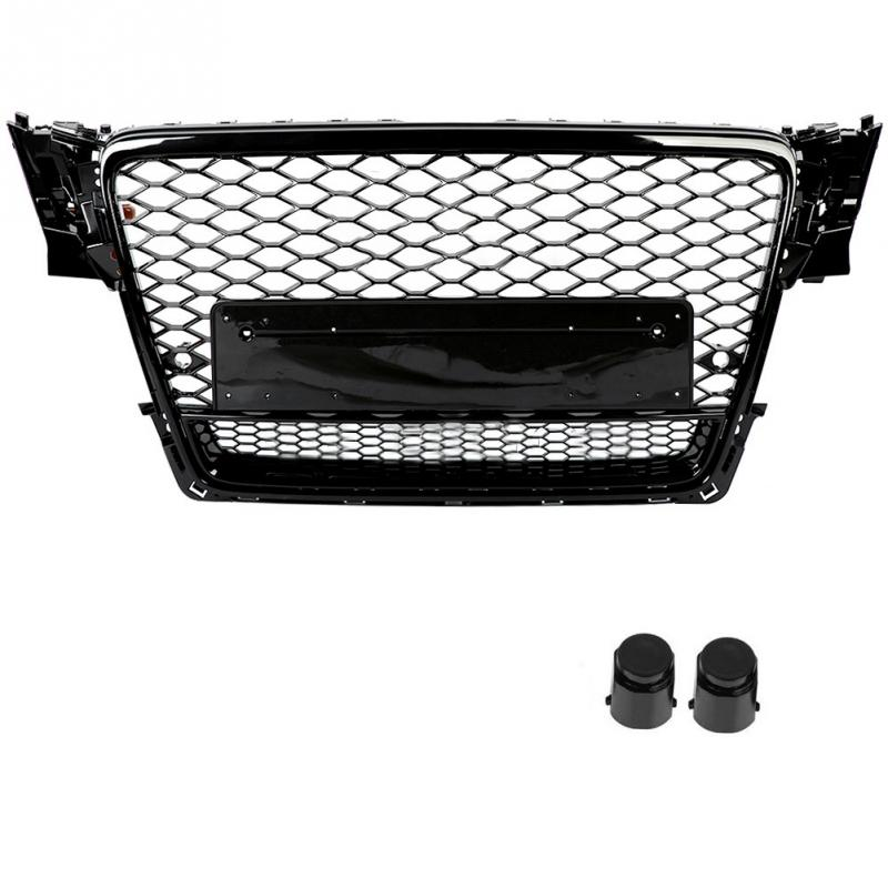 Front Sport Hex Mesh Honeycomb Hood Grill Black for Audi A4 S4 B8 2009 2010 2011