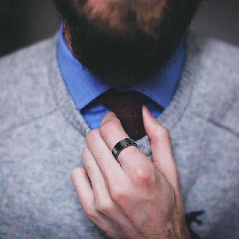 Vnox индивидуальные нержавеющая сталь черный Spinner класса кольца для мужчин 8 мм гравировкой Свадебные украшения простой индивидуальный подарок