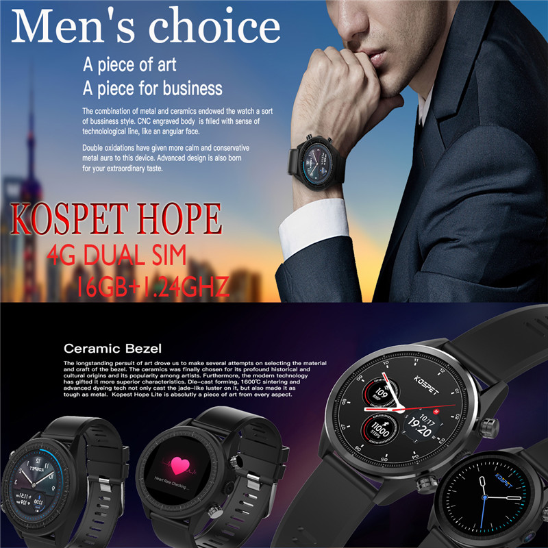 GPS sans fil Bluetooth haut de gamme + écran tactile 16G 1.25 GHZ Kospet Hope montre intelligente