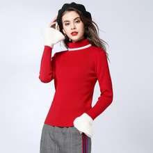 turtleneck sweater women damen autumn and winter 2019 new arrival knitted bottoming christmas 1818