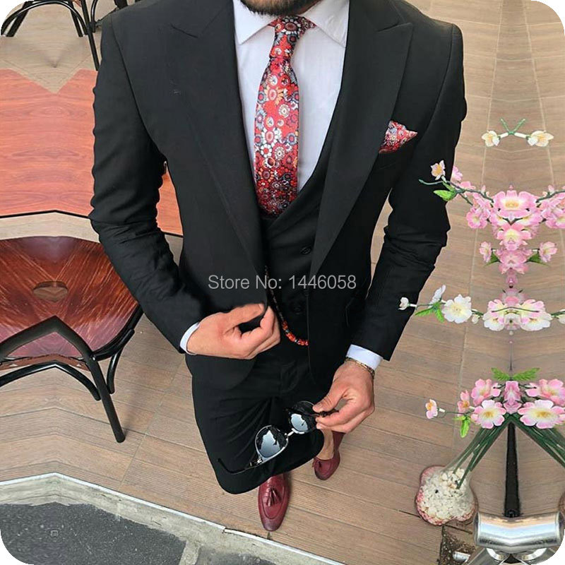 2019 Formal Casual Men Suit Slim Fit Black 3 Piece Sets Groom Wear Men Wedding Suits Tuxedos For Men Costume Mariage Homme