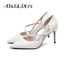 AIKELINYU Lady Sandal Genuine Leather Cowhide Pointed Toe Sexy High Thin Heel Shoe Buckle Strap Wedding Party Women