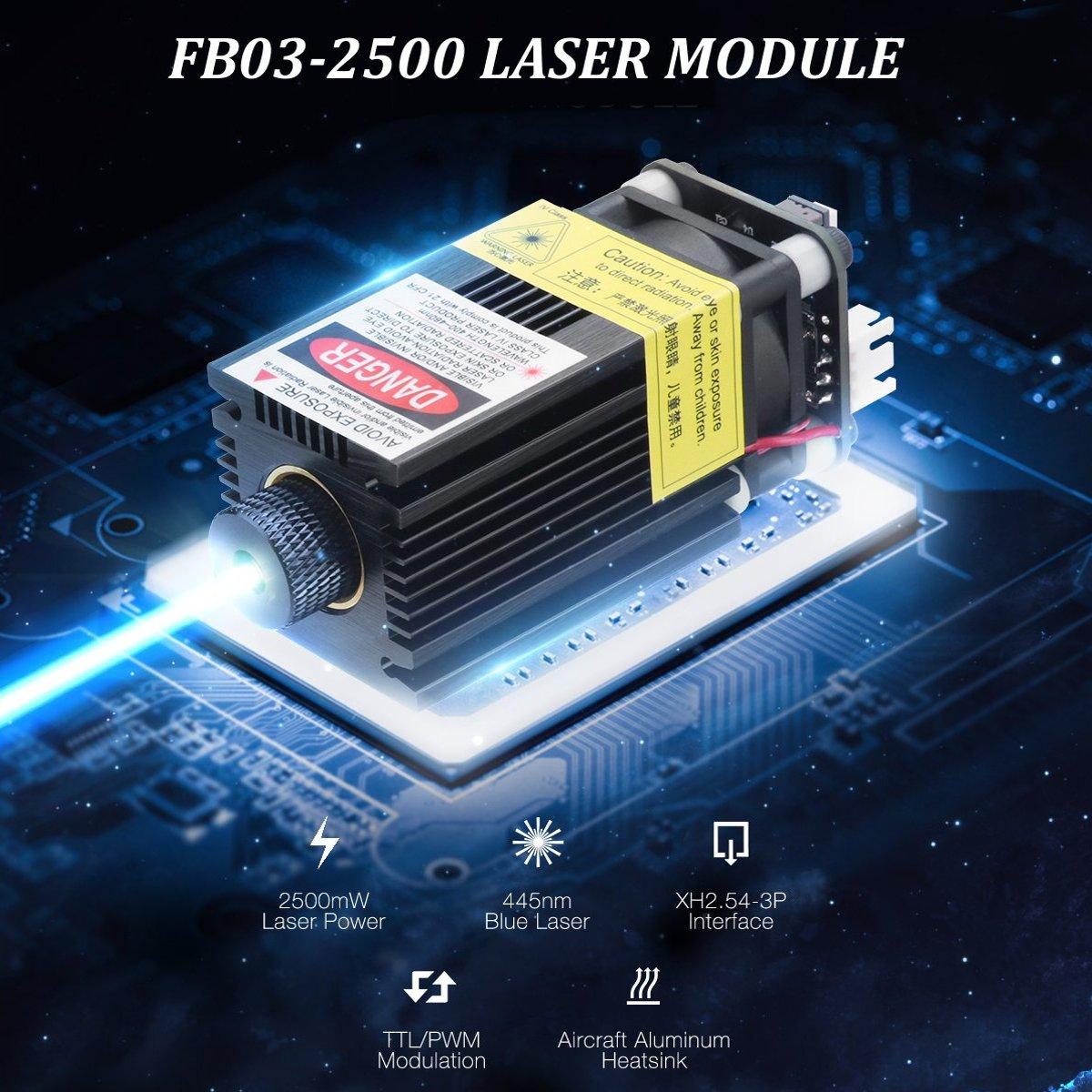 FB03-2500 2500 mW 445nm Module Laser bleu 2.54-3 P TTL/PWM Modulation bricolage graveur pour EleksMakerFB03-2500 2500 mW 445nm Module Laser bleu 2.54-3 P TTL/PWM Modulation bricolage graveur pour EleksMaker
