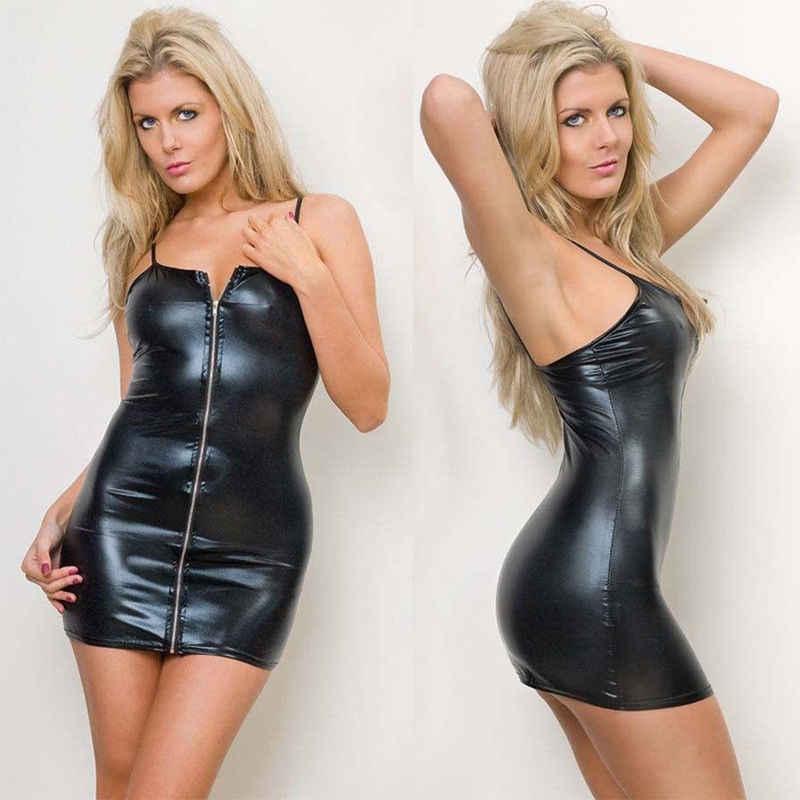 2019 החדש חם סקסי Slim Fit נשים במראה רטוב PVC פו עור Bodycon שמלת לילה מועדון ללבוש שמלות